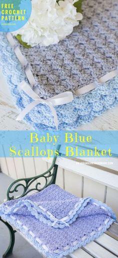 "Miss Kayla's Baby Blanket [Free Crochet Pattern] Crochet → Baby Blanket   size: 36""x36""   Written in PDF   US Terms Level: beginner yarn: three balls of Heather Grey (Body)and one Baby Blue (Border) hook: 4.5 mm (7) Author: by Susie #BabyBlanket #crochetblanket #freecrochetpattern"
