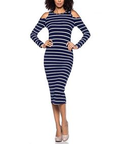 Look at this Navy & White Stripe Shoulder-Cutout Midi Dress on #zulily today!