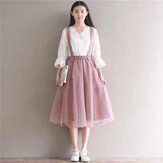 Tulle Skirts Womens High Waist Skirt Vintage Lolita Petticoat faldas s – moflily