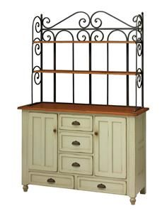 """Amish Bedford Bakers Rack Hutch - Keystone Collection """"Now this, is a baker's rack. Amish Furniture, Solid Wood Furniture, Home Decor Furniture, Painted Furniture, Furniture Ideas, Kitchen Furniture, Bakers Rack Kitchen, Kitchen Storage, Dining Corner"""
