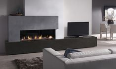 Metro 130XT balanced flue gas fire with grey stones
