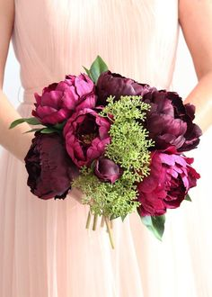 Faux flowers- Eggplant Plum Peony & Sedum Silk Fall Bouquet - Tall x Diameter Wedding Bouquets Online, Artificial Wedding Bouquets, Silk Wedding Bouquets, Fall Bouquets, Fall Wedding Flowers, Wedding Plants, Bride Flowers, Faux Flowers, Silk Flowers
