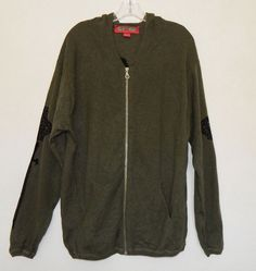 AMAL GUESSOUS 100% Cashmere Olive Munky Korn Crown Sword Hoodie Sweater  Size M #AmalGuessous #Hooded