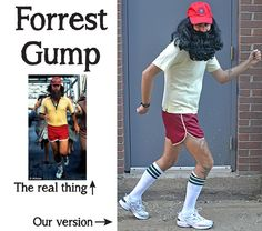 "Forrest Gump DIY costume for guys who ""dont do costumes or face paint"""