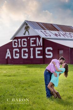 Such a fun Aggie engagement session with our couple! We love the Aggie Barn! We love visiting Texas A&M. So much so that we visit quite frequently! It may not be a huge town, but there are so many places for an engagement or bridal session! Since Kristen and Jonathan ar…