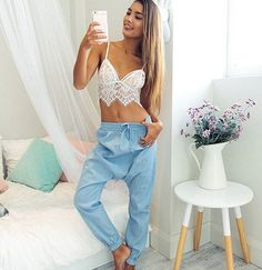 Sexy Lace Crop Top - (White/Black) Bustier - Halter Tank Top