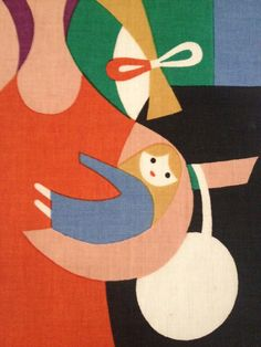 "Alexander Girard--detail from ""Girls"" Alexander Girard, Art And Illustration, Illustrations, Textiles, Modern Graphic Design, Graphic Art, Book Page Art, Arte Pop, Designer"