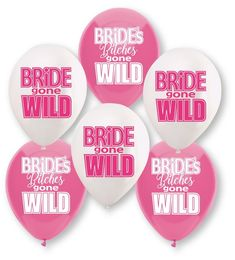 Decorate your bachelorette party with this fun Bride Gone Wild inspired theme, perfect to take to the bars! Bride Gone Wild Balloon Bachelorette Party Assortment includes 3 Bride gone WILD and 3 Bride's Bitches gone WILD. Wild Bachelorette Party, Bridal Shower Balloons, Party Prizes, Prom Girl Dresses, Dresses Uk, Perfect Party, Party Fun, Party Ideas, Bridezilla
