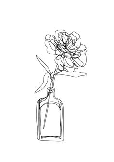 Minimal single line drawing of flower in vase - black and white peony rose Mini Art Print by Katerina Brabcova - Without Stand - Black And White Art Drawing, Black And White Picture Wall, Black And White Sketches, Black And White Prints, Black And White Aesthetic, Black And White Illustration, Black And White Pictures, Black And White Doodle, Black And White Flowers