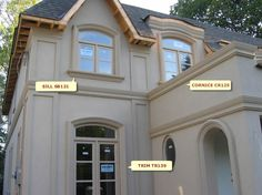 Design Idea: S8121 ~ Sill Exterior Trim, Exterior Colors, Exterior Design, Exterior Windows, White Stucco House, Outside House Colors, Window Blocks, French Walls, House Trim