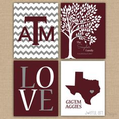 Texas A College Custom Family PRINTABLE Love Bird Tree Wall Art Entry Way Decor GigEm Aggies Wedding Gift Set of 4 DIGITAL files 8x10 size