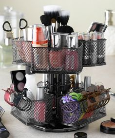 Take a look at this Rose Makeup Carousel by Nifty Home Products on today! Awesome way to organize your makeup! Makeup Storage, Makeup Organization, Storage Organization, Organizing Ideas, Storage Ideas, Bathroom Organization, Storage Design, Storage Solutions, Organising