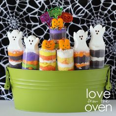 Halloween Push Pop Peeps - premade brownie bites make these so quick and easy.