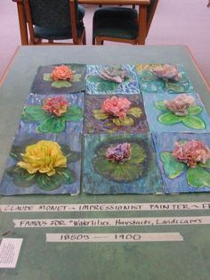 Monet water lilies with paint, sponges and crepe paper.