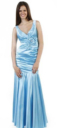 Popular Aqua Formal Dress V Neck Wide Strap Pleated Mermaid Gown $87.99