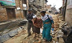 An injured woman near Kathmandu after the  Nepal earthquake