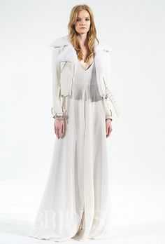 A white motorcycle jacket is always a good idea for a wedding dress @HOUGHTONNYC   Brides.com