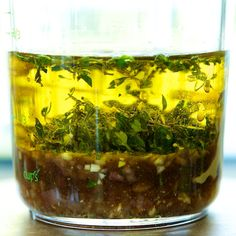 Fresh homemade vinaigrette with herbs - tasty on salad and vegetables
