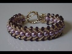 How to make a beautiful and easy pearl bracelet- flat spiral stitch - YouTube