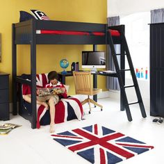 warwick high sleeper with futon for sleepovers   aspace last years model high sleeper with pull out chair bed in blue        rh   pinterest