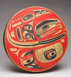 Click to explore detailed records for this artwork Photo: Tomas Svab, Vancouver Art Gallery Reg Davidson Haida Eagle, date unknown paint and deer hide on wood frame 7.5 cm x 61.0 cm Vancouver Art Gallery