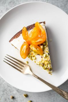 Pistachio Olive Oil Cake with Honeyed Kumquats (Gluten-Free, Refined Sugar-free ) | saltedplains.com