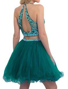 Amazon.com: LovingDress Womens Halter Homecoming Dress Two-Piece Beaded Short…