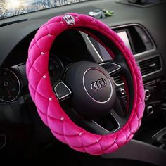 $20.65 Hot Winter Steering Wheel Crystal Crown Auto Fur Cases For Women Girls Car styling - Pink, No stimulation, Non-Slip, Excellent breathability, pest control, sterilization, anti-static, Easy to clean, no deformation, high wear resistance, Four Seasons General.