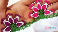 This Pin was discovered by Gül Crochet Earrings, Embroidery, Jewelry, Dish Towels, Crocheting Patterns, Stuff Stuff, Slippers Crochet, Crochet Trim, Needle Lace
