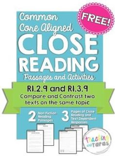 Close Reading - Compare and Contrast Two Texts FREEBIE (RI.3.9)