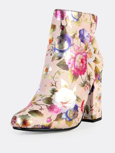 Shop Floral Print Zip Up Round Toe Boots BLUSH online. SheIn offers Floral Print Zip Up Round Toe Boots BLUSH & more to fit your fashionable needs. Black Ankle Boots, Rubber Rain Boots, Heeled Mules, Zip Ups, Floral Prints, Blush, Toe, Booty, My Style