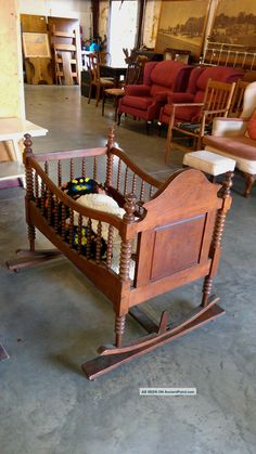 Antique Early American 19th Century Wooden Cradle Hand Turned Spindles Carved Other photo 6