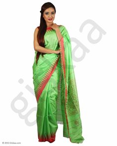 8d8fe7ef5c4066 Show details for Olive Green Rani 100% Muga Silk Full Saree with Red Maroon  Temple