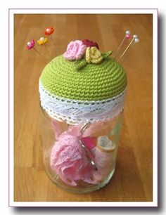 Crochet a Pincushion Lid on a storage jar {sewing kit gift, or misc small item storage...}