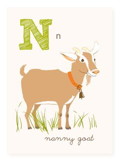 N is for Nanny Goat 5x7 art print by SeaUrchinStudio on Etsy
