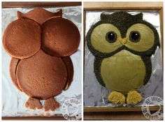 how to make an owl cake with regular round cake tins awww LeTourneau Rose Owl Cakes, Cupcake Cakes, Ladybug Cakes, Fruit Cakes, Fancy Cakes, Cute Cakes, Bolo Original, Owl Birthday Parties, Owl Cake Birthday