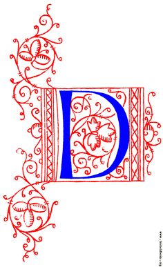 Decorative initial letter D from fifteenth Century