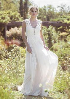 6f17ba74dc62 Chiffon Gown with Illusion Back and Deep V-Neckline   Lillian West Lillian  West Wedding