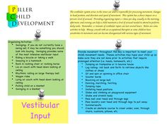 Various vestibular activities such as scooters, log rolling, obstacle courses, and more are provided that address organizing skills. Vestibular Activities, Vestibular System, Occupational Therapy Activities, Sensory Therapy, Pediatric Occupational Therapy, Pediatric Ot, Ot Therapy, Vision Therapy, Therapy Ideas