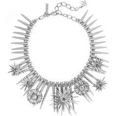 OSCAR DE LA RENTA   Celestial silver-tone crystal choker ($660) ❤ liked on Polyvore featuring jewelry, necklaces, crystal choker, oscar de la renta, silvertone jewelry, clear jewelry and crystal jewellery