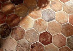 hexagon terracotta tile hexagon provenance material antique natural and kitchens reclaimed hexagonal quarry tiles Foyer Flooring, Kitchen Flooring, Flooring Tiles, Floors, Hex Tile, Hexagon Tiles, Quarry Tiles, Terracotta Floor, Tuscan Style