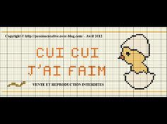 bébé - baby - poussin - cui cui j'ai faim - point de croix - cross stitch - Blog : http://broderiemimie44.canalblog.com/