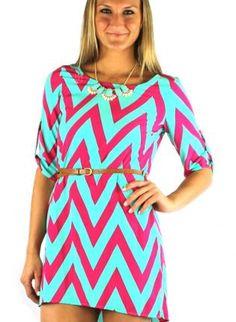 Multi Day Dress - Pink Chevron Print Belted Shift