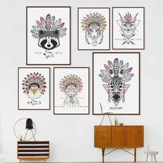 Indian Animals Head Hippie Fashion Deer Horse Zebra A4 Large Art Print Poster…