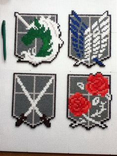 Attack on Titan corps emblems perler beads by mininete on deviantART