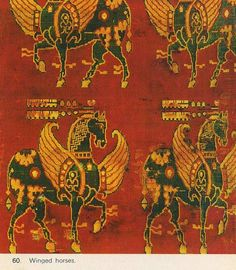 Those winged horses is a silk serge fabric and was used as a cushion for the enamel cross of the Pope Paschal - and is said to be Byzantine cent) Medieval Paintings, Winged Horse, Early Middle Ages, Textiles, Dark Ages, Ancient Art, Archaeology, Textile Art, Printing On Fabric