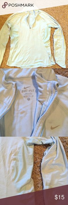 Nike dry fit pull over/ like new Nike/Light baby blue/ dry fit, pull over, mesh breathable at the arm Pitts and down the sides, zips at neck Nike Tops Sweatshirts & Hoodies