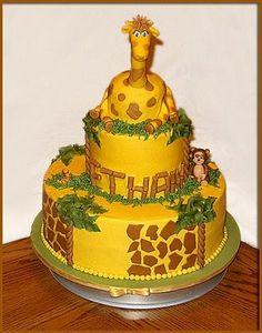 Stacey's Sweet Shop - Truly Custom Cakery, LLC: Happy 1st Birthday Ethan. Giraffe Birthday Cake.