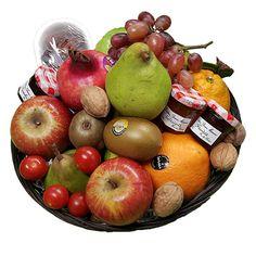 Quality Fruit Baskets. Fruitig  1x Dadels 150 gr.  3x Jam 30 gr.   90 gr.  2x Kiwi  1x Granaatappel  2x Sinaasappel  3x Appel  2x peer  1x Druiven  1x Overige Decoratie