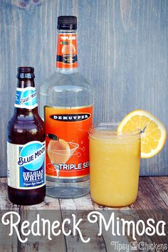 """This is the perfect summer drink for the indifferent beer drinker, the addition of orange juice and triple sec takes it from """"meh"""" to """"May I Have Another?"""" serve it in a mason jar for extra redneck street cred Spring Cocktails, Summer Drinks, Cocktail Drinks, Cocktail Recipes, Sweet Cocktails, Fruity Cocktails, Fun Drinks, Beverages, Alcohol Drink Recipes"""